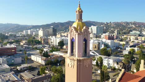 Aerial-Over-Blessed-Sacrament-Catholic-Church-In-Hollywood-California-1