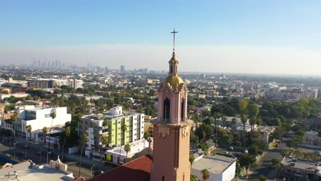 Aerial-Over-Blessed-Sacrament-Catholic-Church-In-Hollywood-California-2