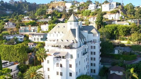 Aerial-Of-The-Chateau-Marmont-On-Sunset-Blvd-In-West-Hollywood-Los-Angeles-California