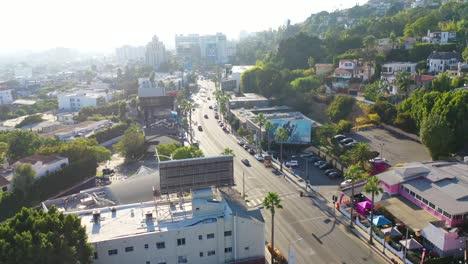 Antena-Sobre-Sunset-Blvd-Sunset-Strip-En-West-Hollywood-Los-Ángeles-California