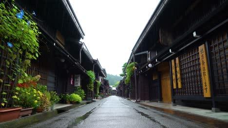 A-rainy-Sanmanchi-Suji-street-is-seen-in-Takayama-Japan