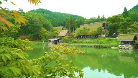 The-Hida-folk-village-is-seen-on-an-overcast-day-in-Takayama-Japan
