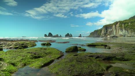 La-Marea-Baja-Se-Ve-En-La-Playa-De-Motukiekie-En-La-Isla-Sur-De-Nueva-Zelanda