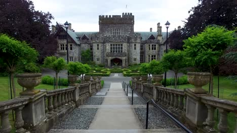 The-camera-approaches-Hatley-Castle-in-British-Columbia-Canada