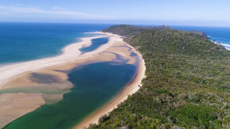 An-Aerial-View-Shows-The-Mountains-And-Beaches-Of-Double-Island-Point-In-Queensland-Australia