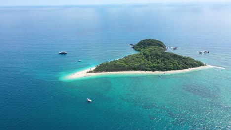 An-Aerial-View-Shows-Boats-Near-The-Frankland-Islands-Off-Queensland-Australia