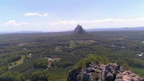 An-Aerial-View-Shows-The-Glass-House-Mountains-In-Queensland-Australia