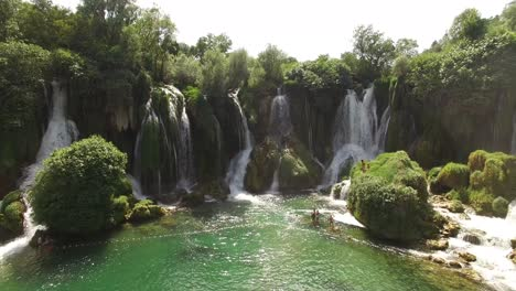 Tourists-Swim-In-The-Trebizat-River-Near-The-Kravica-Waterfall-In-Mostar-Bosnia