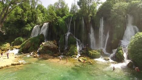 Tourists-Enjoy-The-Trebizat-River-And-Kravica-Waterfall-In-Mostar-Bosnia