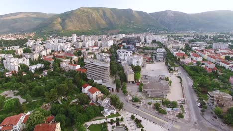 An-Aerial-View-Shows-The-City-Of-Mostar-Bosnia