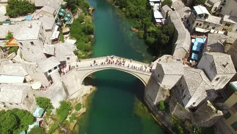 A-Bird-Seyeview-Shows-The-Mostar-Bridge-And-The-Neretva-River-It-Passes-Over-In-Mostar-Bosnia