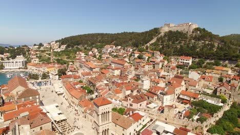 An-Aerial-View-Shows-The-Resort-Town-Of-Hvar-Croatia