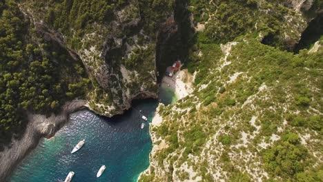 A-Bird-Seyeview-Shows-Boats-Anchored-Near-Stiniva-Beach-In-Vis-Croatia
