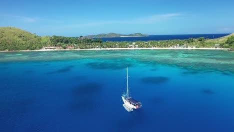 A-Boat-Is-Seen-Off-The-Coast-Of-Yanuya-Island-Fiji
