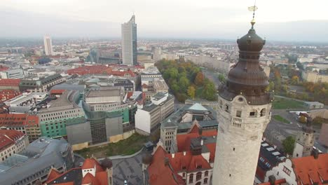 An-Aerial-View-Shows-The-New-Town-Hall-Of-Leipzig-Germany-Towering-Over-The-Rest-Of-The-City