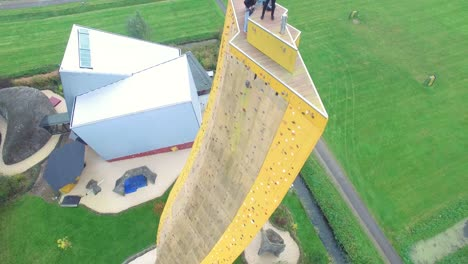 Tourists-Are-Seen-Atop-The-Excalibur-Climbing-Wall-In-Groningen-Netherlands