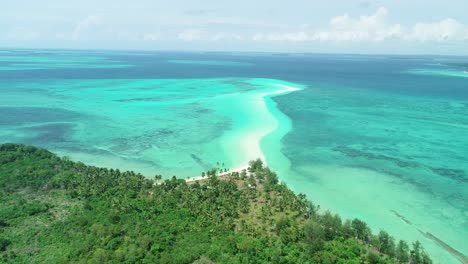 An-Aerial-View-Shows-Palm-Trees-And-The-Serpentine-Sandbank-Of-Snake-Island-Indonesia
