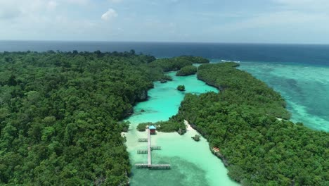 An-Aerial-View-Shows-A-Pier-In-Baer-Island-Indonesia