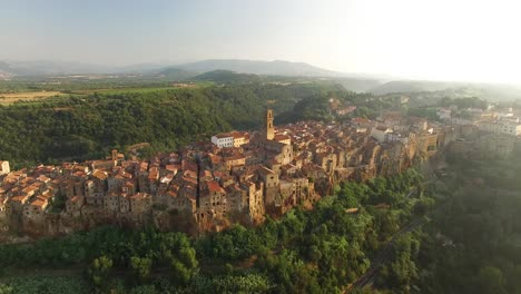 An-Aerial-View-Shows-The-Architecture-Of-Pitigliano-Italy