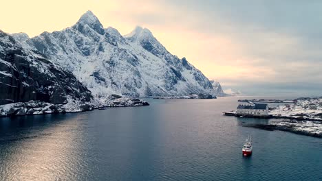 Boats-And-Buildings-Are-Seen-In-The-Wintry-Lofoten-Islands-Norway