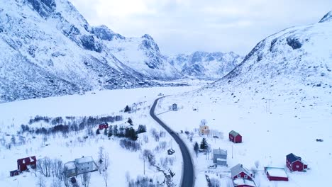 Isolated-Homes-Are-Seen-In-Wintertime-On-The-Lofoten-Islands-Norway