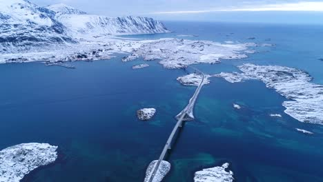 An-Aerial-View-Shows-The-Wintry-Lofoten-Islands-Norway-Covered-In-Snow