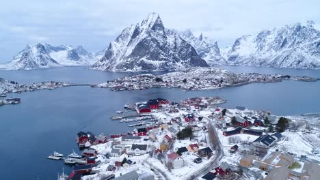 An-Aerial-View-Shows-Dwellings-On-The-Wintry-Lofoten-Islands-Norway