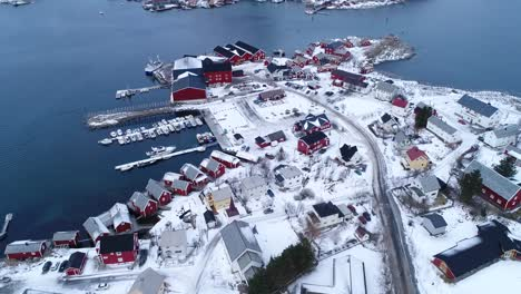 An-Aerial-View-Shows-Dwellings-And-Docks-On-The-Wintry-Lofoten-Islands-Norway