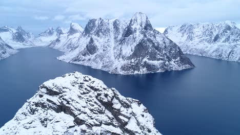 Snowcovered-Mountains-Are-Seen-In-The-Lofoten-Islands-Norway