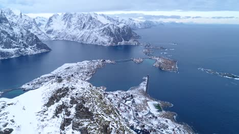 An-Aerial-View-Shows-The-Snowcovered-Lofoten-Islands-Of-Norway-1