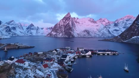 Snowcovered-Mountains-Are-Seen-At-Sunset-In-The-Lofoten-Islands-Norway