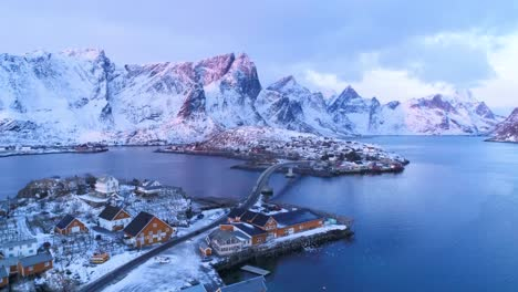 Snowcovered-Mountains-Are-Seen-At-Sunset-In-The-Lofoten-Islands-Norway-1