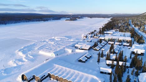 An-Vista-Aérea-View-Shows-The-Forested-Area-Surrounding-An-Ice-Hotel-In-Kiruna-Sweden-1
