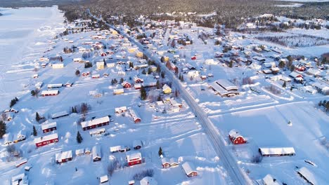 An-Vista-Aérea-View-Shows-The-Colorful-Homes-Near-A-Forest-In-The-Wintry-Town-Of-Kiruna-Sweden