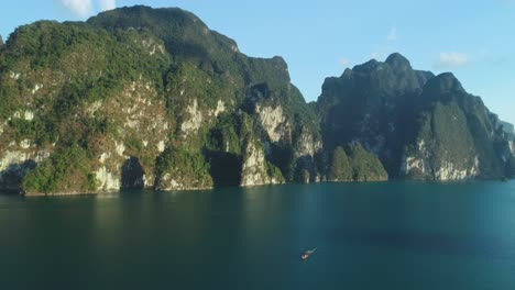 An-Aerial-View-Shows-Tourists-Riding-A-Motorboat-Away-From-Khao-Sok-National-Park-In-Surat-Thani-Thailand