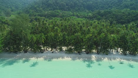 An-Aerial-Panning-Shot-Shows-A-Palmtree-Lined-Beach-In-Ko-Kut-Thailand