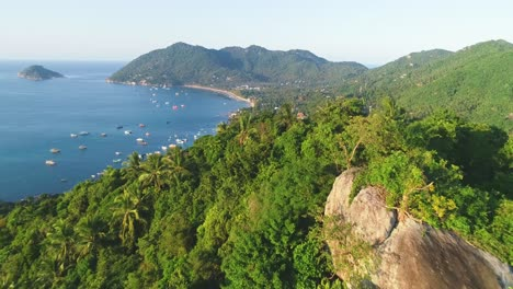 An-Aerial-View-Shows-Palm-Trees-And-Boats-Anchored-Off-The-Coast-Of-Ko-Tao-Thailand