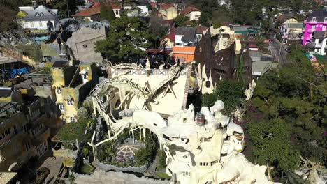 An-Aerial-View-Shows-Tourists-Exploring-The-Crazy-House-Of-Dalat-Vietnam