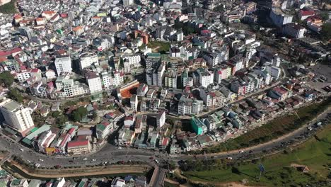 An-Aerial-View-Shows-Urban-Traffic-In-The-City-Of-Dalat-Vietnam