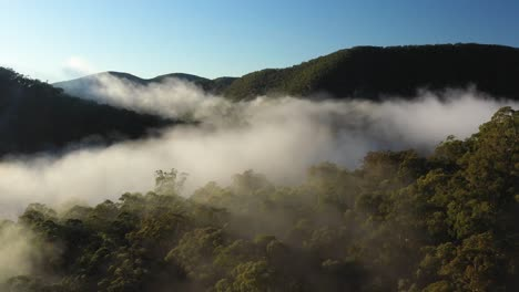 Very-Good-Aerial-Through-The-Mist-Surrounding-The-Blue-Mountains-Of-New-South-Wales-Australia
