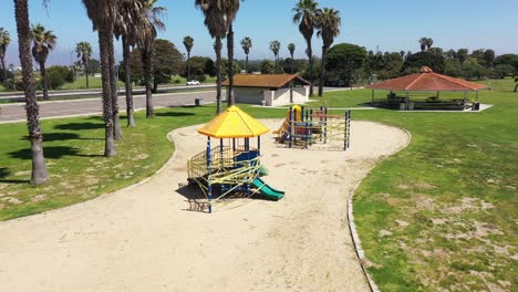 Aerial-Southern-California-San-Diego-park-playground-abandoned-empty-during-the-Covid19-coronavirus-pandemic-epidemic