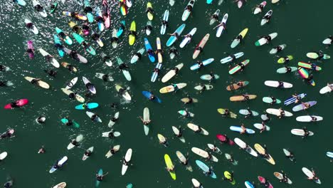 Aerial-over-surfers-in-circle-during-BLM-Black-Lives-Matter-Paddle-For-Freedom-gathering-in-California-7