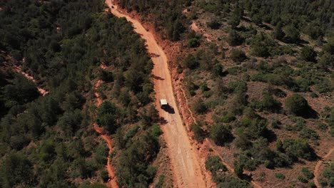 Aerial-over-jeep-driving-through-the-rugged-backcountry-on-dirt-roads-near-Sedona-Arizona