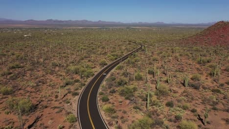 Aerial-of-a-motorcycle-on-a-desert-highway-road-with-Saguaro-cactus-all-around-1
