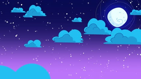 Cartoon-animation-background-with-motion-clouds-and-moon-on-blue-sky-abstract-backdrop