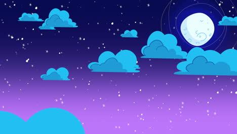 Fondo-De-Animación-De-Dibujos-Animados-Con-Nubes-De-Movimiento-Y-Luna-Sobre-Fondo-Abstracto-De-Cielo-Azul