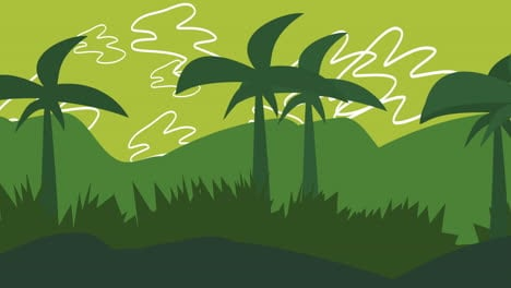 Cartoon-animation-background-with-palms-in-mountain-abstract-backdrop