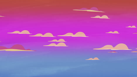 Cartoon-animation-background-with-motion-clouds-on-red-sky-abstract-backdrop