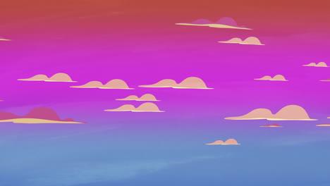 Fondo-De-Animación-De-Dibujos-Animados-Con-Nubes-De-Movimiento-Sobre-Fondo-Abstracto-De-Cielo-Rojo