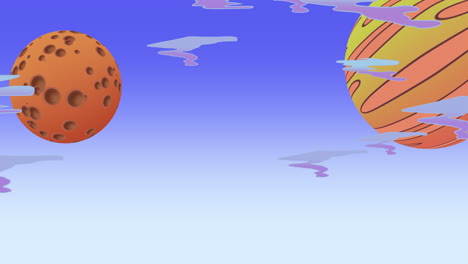 Cartoon-animation-background-with-moon-and-planet-in-space-abstract-backdrop